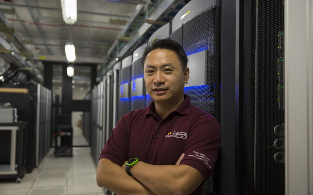 Fulton Entrepreneurial Professor Dijiang Huang created a cloud-computing-based virtual lab to help the growing student population of Arizona State University's Ira A. Fulton Schools of Engineering get better access to a hands-on lab that mirror real-world computer networking systems. Photographer: Pete Zrioka/ASU